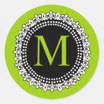 Etiqueta verde del boda de la flor de lis del