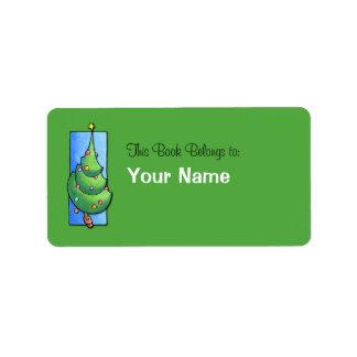 Etiqueta verde del Bookplate del árbol de navidad Etiqueta De Dirección
