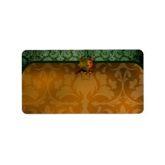 etiqueta verde del damasco 311-Thankful Etiqueta De Dirección