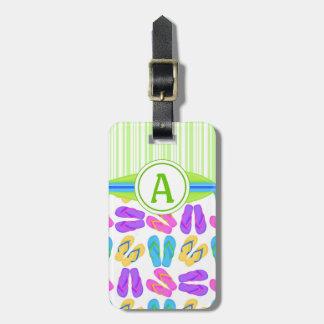 Etiqueta verde del equipaje de la playa de los fli etiquetas maleta