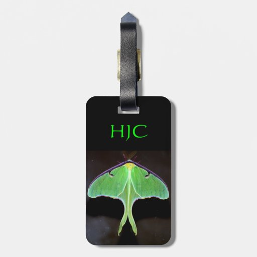 Etiqueta verde del equipaje de la polilla de Luna Etiquetas Maletas