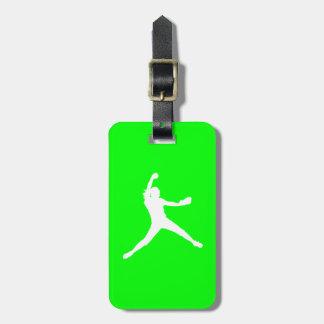 Etiqueta verde del equipaje de la silueta de Fastp Etiquetas Maletas