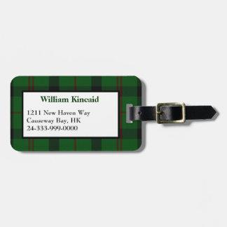 Etiqueta verde del equipaje de la tela escocesa de etiqueta de maleta