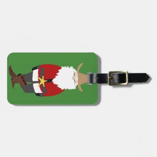 Etiqueta verde del equipaje de Santa del vaquero Etiquetas De Maletas