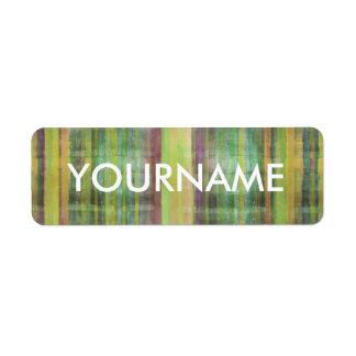Etiqueta verde del nombre del modelo rayado del etiquetas de remite