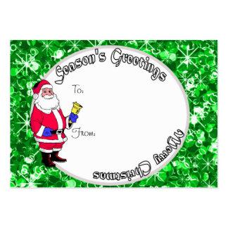 Etiqueta verde del regalo del navidad de los salud tarjeta de visita