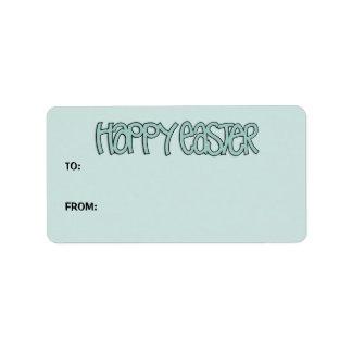 Etiqueta verde feliz del regalo de Pascua Etiqueta De Dirección