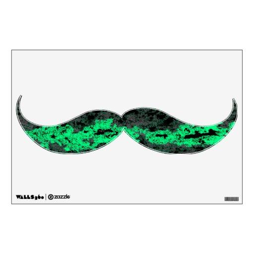 Etiqueta verde y negra de la pared del bigote