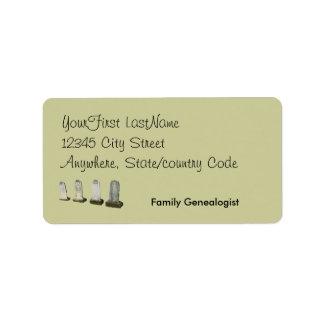 Etiqueta - vuelta - lápidas mortuorias etiquetas de dirección