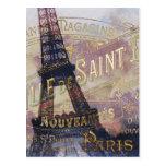Etiqueta y torre Eiffel del francés del vintage Postales