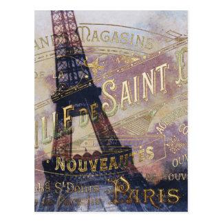 Etiqueta y torre Eiffel del francés del vintage Postal