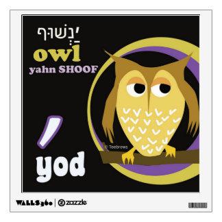 Etiqueta-Yod de la pared del alfabeto hebreo