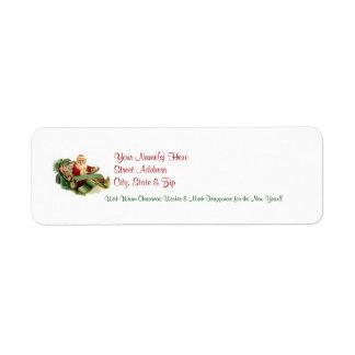 Etiquetas 5 del remite del navidad de Santa del vi Etiqueta De Remite