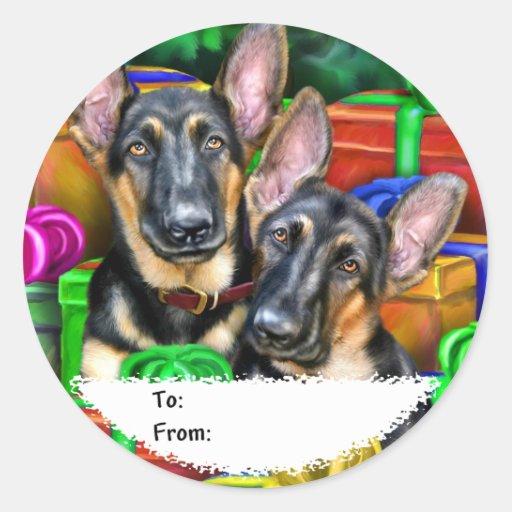 Etiquetas abiertas del regalo del navidad de los pegatina redonda