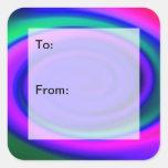 Etiquetas abstractas azules del regalo del modelo calcomania cuadradas personalizadas