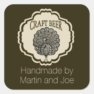 Etiquetas adaptables de la cerveza con el pavo pegatina cuadrada