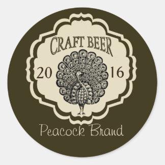 Etiquetas adaptables de la cerveza con el pavo pegatina redonda