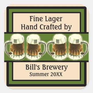 Etiquetas adaptables de la cerveza pegatina cuadrada