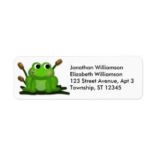 Etiquetas adorables del remite del Froggy Etiquetas De Remite