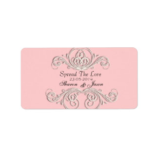 Etiquetas adornadas blancas rosadas del favor del  etiqueta de dirección