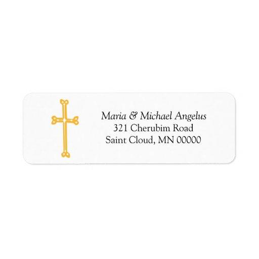 Etiquetas adornadas del boda del remite de la cruz etiquetas de remite