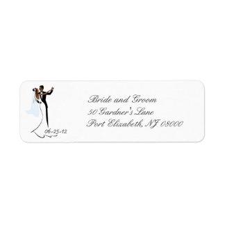 Etiquetas afroamericanas del remite del boda etiquetas de remite