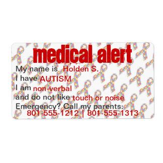 Etiquetas alertas médicas de la conciencia del aut etiquetas de envío