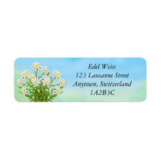 Etiquetas alpinas de las flores de Edelweiss Etiqueta De Remite
