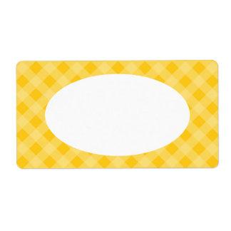 Etiquetas amarillas de la guinga etiqueta de envío