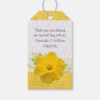 Etiquetas amarillas del favor del boda del narciso etiquetas para regalos