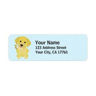 Etiquetas amarillas del remite de Labrador Etiqueta De Remite