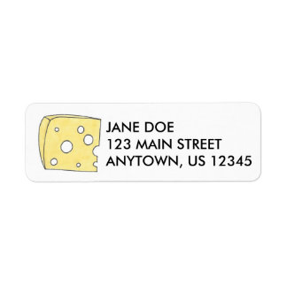 Etiquetas amarillas del remite del queso suizo etiqueta de remite