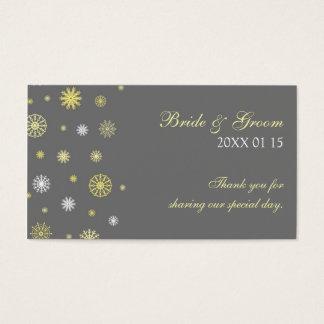 Etiquetas amarillas grises del favor del boda del tarjetas de visita