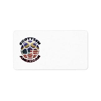 Etiquetas americanas escocesas del fútbol etiqueta de dirección