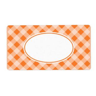 Etiquetas anaranjadas brillantes de la guinga etiquetas de envío