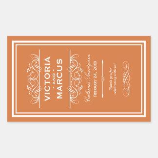 Etiquetas anaranjadas del favor del monograma de rectangular altavoz