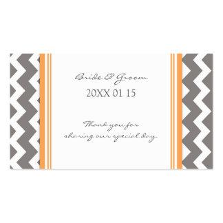 Etiquetas anaranjadas grises del favor del boda de plantilla de tarjeta de visita