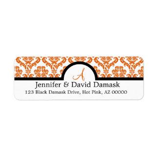 Etiquetas anaranjadas quemadas del monograma del b etiqueta de remite