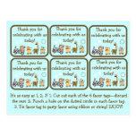 Etiquetas animales del favor de fiesta de fiesta d postales
