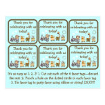Etiquetas animales del favor de fiesta de fiesta d tarjeta postal