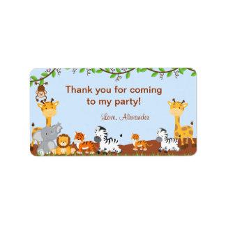 Etiquetas animales del favor del cumpleaños de la etiquetas de dirección
