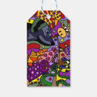 Etiquetas animales del regalo del arte abstracto etiquetas para regalos