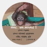 Etiquetas animales del remite del bebé lindo pegatina redonda