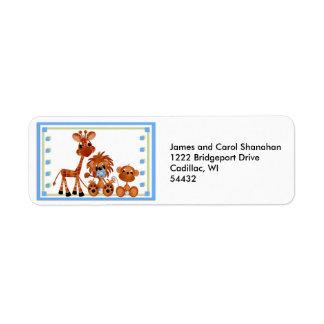 Etiquetas animales del remite del parque zoológico etiqueta de remitente