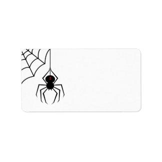 Etiquetas asustadizas de la araña etiqueta de dirección