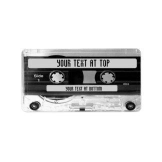 Etiquetas audios de la biblioteca de cintas de etiqueta de dirección