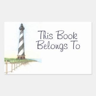 Etiquetas autoadhesivas del libro del faro de rectangular pegatina