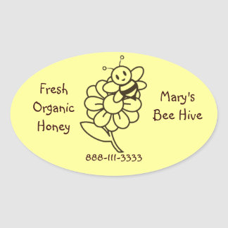 Etiquetas autoadhesivas del óvalo de la abeja de pegatinas ovales