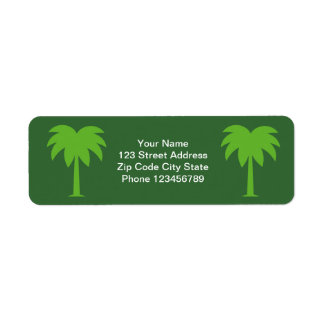 Etiquetas autoadhesivas del remite de la palmera etiquetas de remite