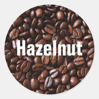 Etiquetas autoadhesivas del sabor del café pegatina redonda